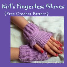 These crochet kid& fingerless gloves are one of the many free crochet patterns by Crochet Fingerless Gloves Free Pattern, Crochet Mittens, Crochet Gifts, Crochet Scarfs, Fingerless Mitts, Crochet Clothes, Crochet Stitches, Crochet For Kids, Free Crochet