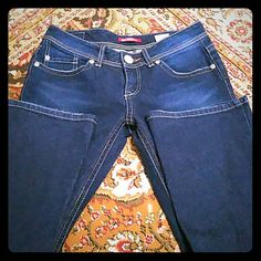 Unionbay Jeans Semi-dark Stretch Jeans great condition boot cut mid rise. Inseam 30. Very slight wear at end of legs. Unionbay Jeans
