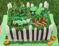 Veggetable Garden Cake with white fence