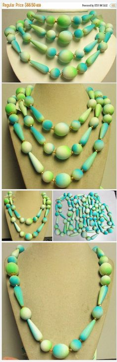 On Sale 95 Inch Vintage Retro Chunky Aqua Turquoise Green & White Lucite Long Flapper Length New Old Stock 50's Necklace Rockabilly Jewelry https://www.etsy.com/MartiniMermaid/listing/556579844/on-sale-95-inch-vintage-retro-chunky?ref=shop_home_active_1