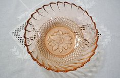 Image result for pink glass bowl diamond, from 70s from Indonesia