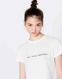 Pull&Bear - dames - teen girls collection - t-shirts - t-shirt met tekst - gebroken wit - 09246346-I2016