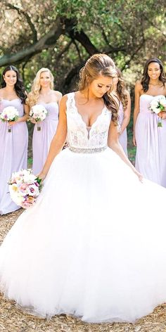 White wedding dress. All brides want to find themselves having the most appropriate wedding ceremony, but for this they need the ideal bridal wear, with the bridesmaid's outfits complimenting the brides-to-be dress. These are a few ideas on wedding dresses. #weddingdress