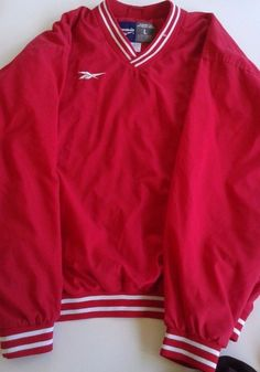 Reebok  Sweatshirt Pullover Sweater Red Large V neck #Reebok #VNeck