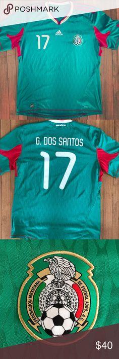 Clothing adidas J DOS Santos #6 Mexico Home Soccer Stadium Jersey World Cup Russia 2018 Men