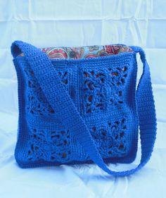 Crochet Purse, Fabric lined, Granny Square Purse Handbag. $45.00, via Etsy.