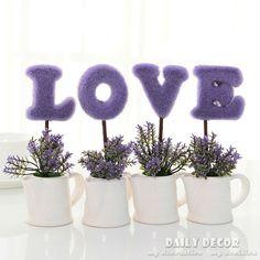 """4 unids/set! """"amor"""" planta artificial/juego mini fake flores en maceta Bonsai árbol de San Valentín Día presente/regalo púrpura/rosa"""