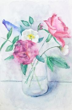 Peinture d'un bouquet de fleurs avec roses à l'aquarelle Creations, Doodles, Roses, Watercolor, Painting, Pink Watercolor, Easy Watercolor, Watercolor Painting, Watercolour Paintings