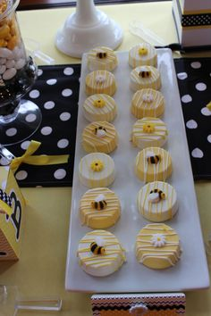 """Bumblebee Themed Baby Shower (""""Mommy To Bee"""") Dessert/Candy Table w/Additional """"Game"""" Table & Decor Dessert/Candy Items Include: • Cake Pops: Cookies & Cream flavored dipped in White Chocolate & White..."""