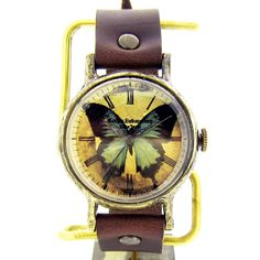 青い蝶の腕時計 Classic Wristwatch L-size blue butterfly