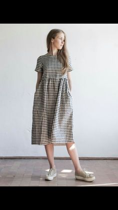 2017 new summer linen dress el Simple Outfits, Simple Dresses, Casual Dresses, Summer Dresses, Party Dresses, Linen Dress Pattern, Dress Patterns, Modest Fashion, Fashion Outfits