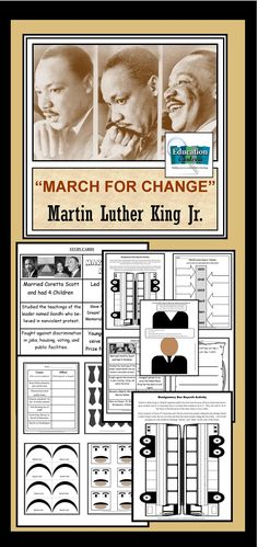 Martin Luther King Jr. Unit: Reading, Writing and thinking activities with more substance that will push your students to talk and think past those key facts they need to memorize. Lots of hands-on activities that encourage good discussion.