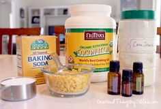 Homemade Solid Deodorant    Ingredients:    1/2 cup coconut oil  1 1/2 Tablespoons beeswax pellets  1/2 cup baking soda  1/2 cup cornstarch  10 drops each of Lavender, Lemon and Frankincense Essential Oils