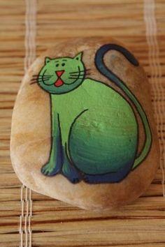 malovaný kámen - kočka by lucille