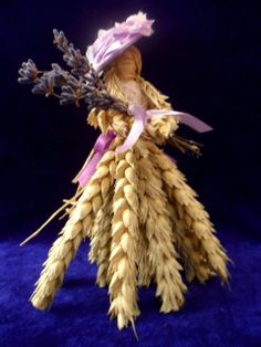 Wiltshire lavender Lady Corn Doll.Designed and Hand Made with Love by Rowan Duxbury. Find me on my : 'Positively Pagan Crafts ' Facebook page.