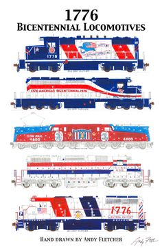 5 hand drawn Bicentennial locomotive drawings(2) by Andy Fletcher