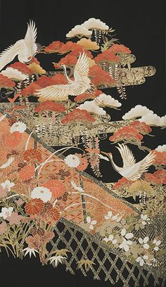 The detail of vintage Tomesode kimono, 1950s, Japan