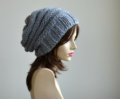 Gray Hand Knit Chunky Slouchy Women Hat Beanie Knit Beret by Puik, $35.00