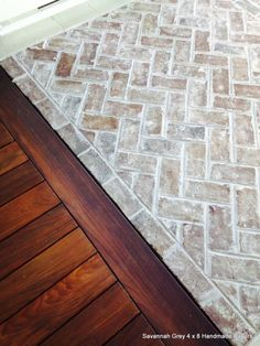 Savannah Grey thin handmade bricks for flooring at Sea Pines Resort on Hilton He. - Savannah Grey thin handmade bricks for flooring at Sea Pines Resort on Hilton Head Island. Brick Pavers, Brick Flooring, Flooring Ideas, Brick Tile Floor, Brick Floor Kitchen, Kitchen Grey, Foyer Flooring, Entryway Tile Floor, Flooring For Kitchen