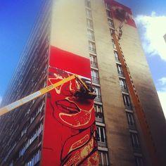 #streetart in progress rue Jeanne d'arc - maxi Obey rouge et or. Le 13e à la pointe du street art à Paris? #stencil #pochoir #paris  (Pris avec Instagram à Sukoshi)