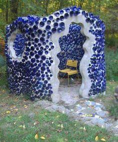 35 Creative Backyard Designs Adding Interest to Landscaping Ideas / blue bottle house