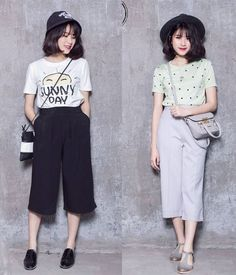 culottes outfit Plaid Outfits, Basic Outfits, Korean Outfits, Simple Outfits, Trendy Outfits, Fashion Outfits, Womens Fashion, Culottes Outfits, Square Pants Ootd