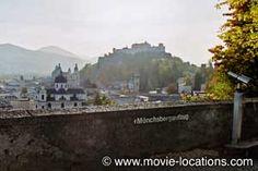 The Sound of Music filming location: Winkler Terrace, looking over Salzburg toward Nonnberg Abbey, Salzburg, Austria