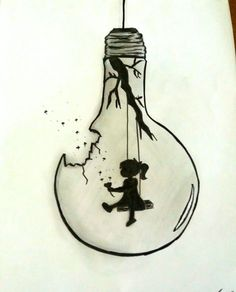 """bleistiftzeichnung my_drawing. - """"Black and White bulb"""", Girl Drawing Sketches, Fish Drawings, Dark Art Drawings, Girly Drawings, Art Drawings Sketches Simple, Pencil Art Drawings, Cool Drawings, Cool Sketches, Illustration Sketches"""