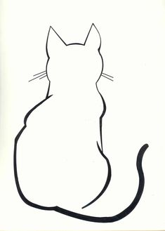 Cat Outline Tattoo | DIY: Cat Silhouette Pillow Cases #CatDrawing