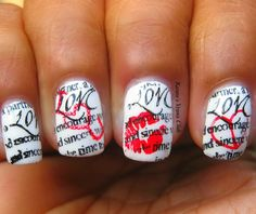 Love Letter Nails... Even though the website says to use stamps, you could probably use the newspaper method and use toothpicks and dotting tools for the red designs!