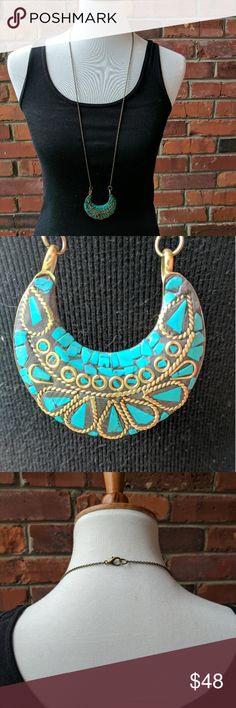 Handmade statement necklace with Tibetan charm Handmade antique bronze with Tibetan charm. Long statement necklace. Nickle free Jewelry Necklaces
