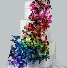 Rainbow Butterfly Wedding Cake!