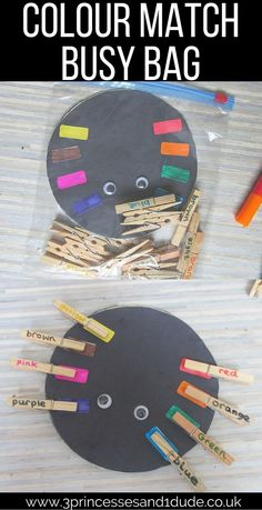 Super fun Spider and pegs busy bag idea with 4 ways to play! Perfect for tots to school-goers. Colour matching, Word matching, number matching, counting.