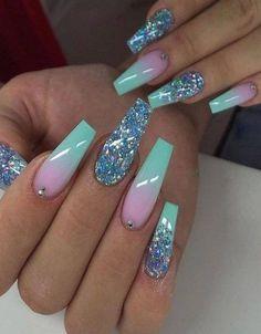 Long Nail Designs, Ombre Nail Designs, Nail Designs Spring, Nail Polish Designs, Acrylic Nail Designs, Nail Art Designs, Nails Design, Purple Acrylic Nails, Sns Nails Colors