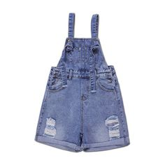 Yoins Casual Blue Hole Denim Strap Short ($32) ❤ liked on Polyvore featuring shorts and yoins