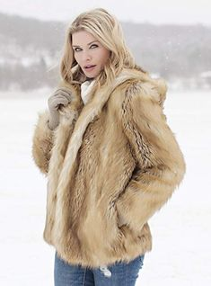 DONNA'S NOTES If Fox is nature's most beautiful fur, we humbly present an equally beautiful faux option. It's a jacket so beautiful, you'll simply HAVE to Faux Fur Jacket, Fur Coat, Fabulous Furs, Hoods, Most Beautiful, Womens Fashion, Jackets, Clothes, Down Jackets