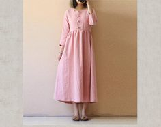 Woman's loose dress cotton and maxi dress loose and