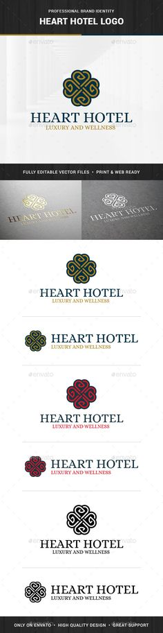Heart Hotel Logo Template — Vector EPS #luxury #chique • Available here → https://graphicriver.net/item/heart-hotel-logo-template/13854010?ref=pxcr