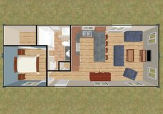 CozyHomePlans.com 640 sq ft two 40' Shipping Container House Floor Plan Concept 3D Top View