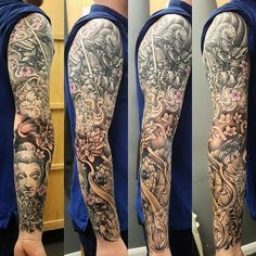 【inkbishop】さんのInstagramをピンしています。 《full jap sleeve ... couple more hours and will be complete #jap #japtatt #tattoo #sleeve #buddha #buddhist #samurai #cherryblossoms #colour #blackandgreytattoo #blackandgrey #lotus #fullsleeve #ink #inked #inkup #instaink #instatattoo #bishoprotary》