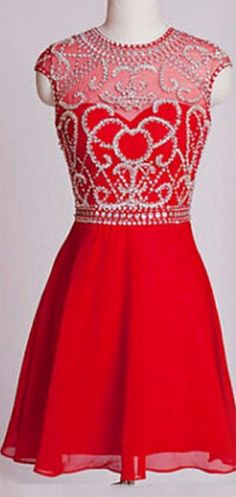 Red High Neck Homecoming Dress, Capped Sleeves Chiffon,Hollow