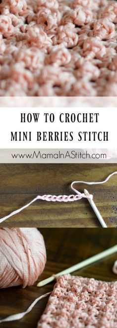 As you probably know, I love finding easy but pretty knit and crochet stitches. This Mini Berries stitch is definitely both simple and pretty. Crochet Stitches For Blankets, Crochet Stitches For Beginners, Crochet Stitches Patterns, Knitting Stitches, Crochet Designs, Stitch Patterns, Knitting Patterns, Beginner Crochet, Easy Patterns