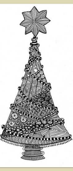 Zentangled Christmas Tree