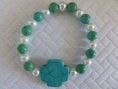 Turquoise Bead and Pearl Cross Stretch by CaseyRoseCollection, $16.00