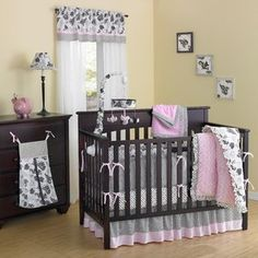Laugh,+Giggle+&+Smile+Versailles+Pink+Minky+Plush+Quintessential+10+Pieces+Crib+set