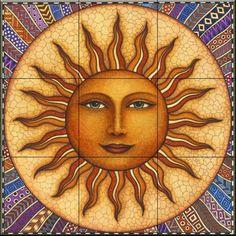 Looking for Ceramic Tile Mural - Celestial Sun - Dan Morris - Kitchen backsplash/Bathroom Shower ? Check out our picks for the Ceramic Tile Mural - Celestial Sun - Dan Morris - Kitchen backsplash/Bathroom Shower from the popular stores - all in one. Sun Moon Stars, Sun And Stars, Pictures Of The Sun, Sun Pics, Moon Symbols, Sun Logo, Sun Designs, Sun Art, Tile Murals