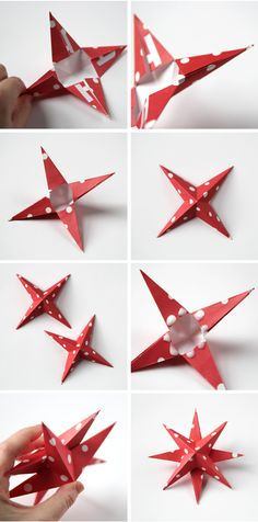 HOW TO MAKE DIY 3D PAPER STAR CHRISTMAS DECORATIONS.