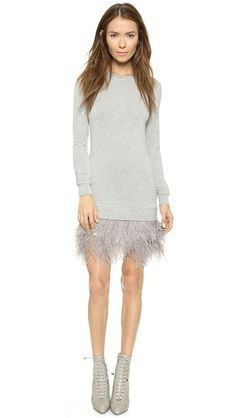 Haute Hippie Sweatshirt Feather Dress