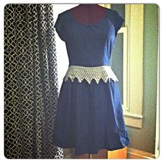 Anthropologie style upcycled by me sz 12 dress Antique crotched piece added to this already beautiful lightweight denim dress with pockets. Dress from ON and is NWT! Anthropologie style without the price! Old Navy Dresses