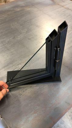 Thin line metal door with bullet hinge. Metal Window Frames, Metal Windows, Welded Furniture, Iron Furniture, Glass Design, Door Design, Grill Gate Design, Iron Doors, Steel Doors